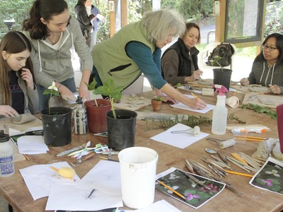 Artist Lynn Takata teaches participants how to use clay to re-create the native flora and fauna of Marquam Nature Park.
