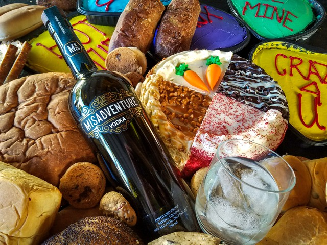 A bottle of Misadventure Vodka, which is made out of disregarded baked goods like cake and bread. The southern California distillery reduces food waste while also creating premium vodka.