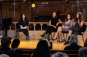 Moderator Jacqueline Keeler (left) leads a conversation with playwrights Larissa FastHorse, DeLanna Studi and Mary Kathryn Nagle during an event sponsored by Advance Gender Equity in the Arts at the Old Church in Portland.