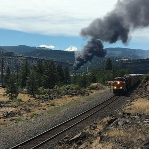 Train derailment fire as seen from Coyote Wall area on Washington state Route 14.
