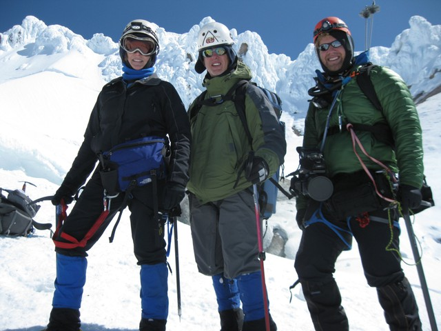 Todd Sonflieth (center) with Producer Jule Gilfillan and Photographer Michael Bendixen returning from a climb of Mount Hood in 2011.
