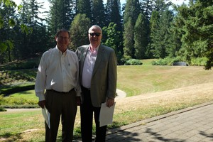 Clayton Hering and Doug Bomarito were instrumental in the construction of the Oregon Vietnam Veterans Memorial, known as the Garden of Solace.
