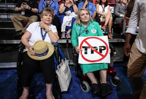 An anti-TPP delegate at the Democratic National Convention in Philadelphia.