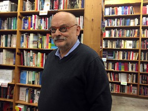Michael Powell, the former owner of Powell's Books inside the flagship store.