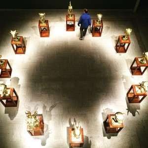 "An aerial view of Ai Weiwei's ""Circle of Animals/Zodiac Heads: Gold (2010)"" on view at Portland Art Museum."