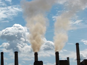 Smokestacks emitting air pollution.