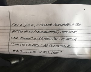 In a note to U.S. District Judge Anna Brown, the jury raised questions about the impartiality of one of its members. Brown has sent a note back to the jury asking them for clarification.