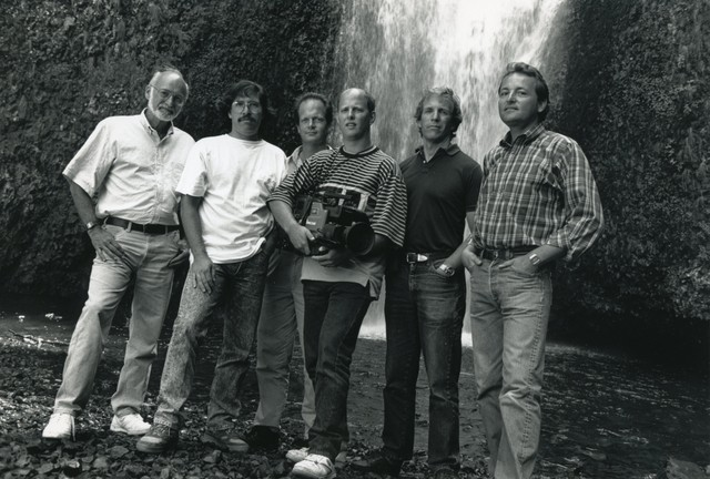 Eric Cain produced over ninety stories with Oregon Field Guide. This crew shot shows the team in 1991.