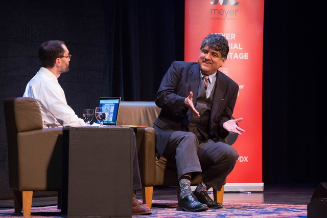 """Sherman Alexie speaks with OPB """"Think Out Loud"""" Host Dave Miller at Wordstock at Arlene Schnitzer Concert Hall in Portland, Oregon, Saturday, Nov. 5, 2016."""