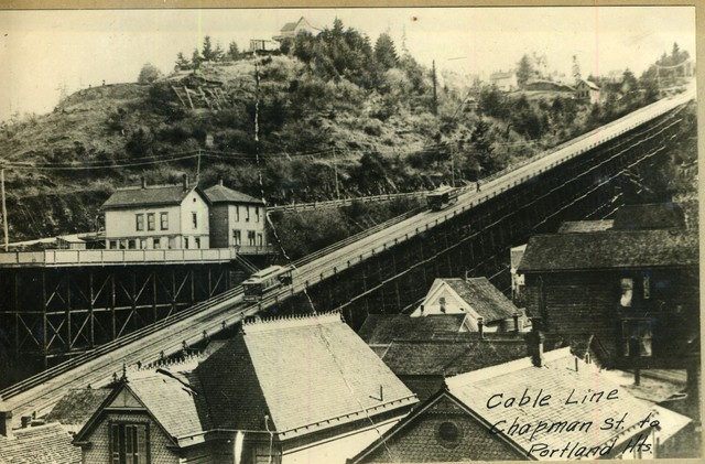 Chapman Street cable line, Portland Heights in Northwest Portland. Only one line went up this steep grade. 1905.
