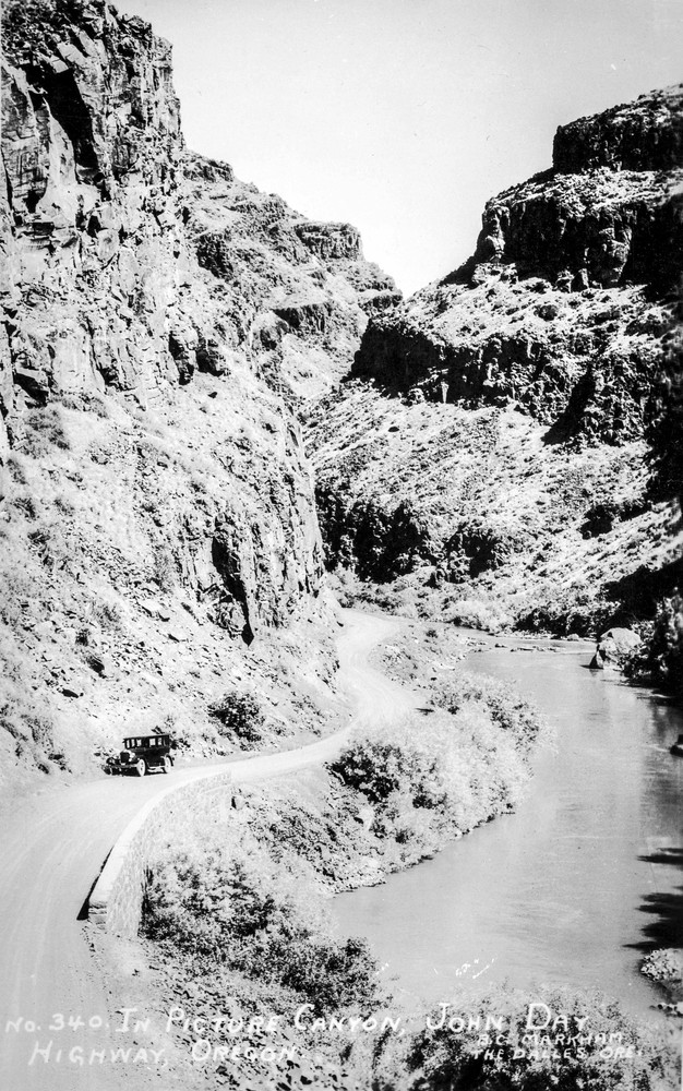 Picture Canyon, John Day Highway, circa early 1900s. Pioneer geologist Thomas Condon was the first to recognize the scientific significance of the John Day Fossil Beds in the 1860s.