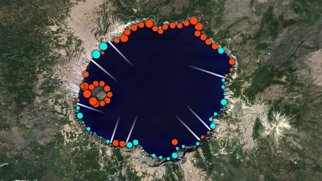 Researchers are considering putting in fences or barricades in Crater Lake to prevent crayfish (red dots) from moving into newt territory (blue dots).