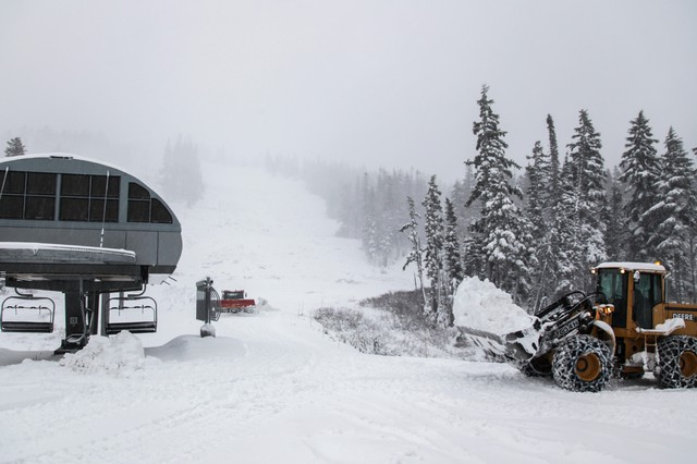The operations crew at Mount Hood Meadows moves snow from the parking lot to the lifts and slopes.