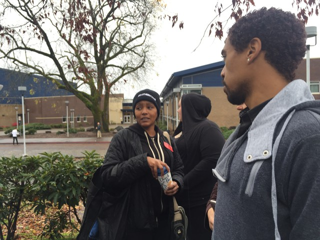 Don't Shoot PDX organizer Teressa Raiford was allowed to attend a discussion of recent racist messages at Oregon City High School. School officials re-directed a planned student walk-out.