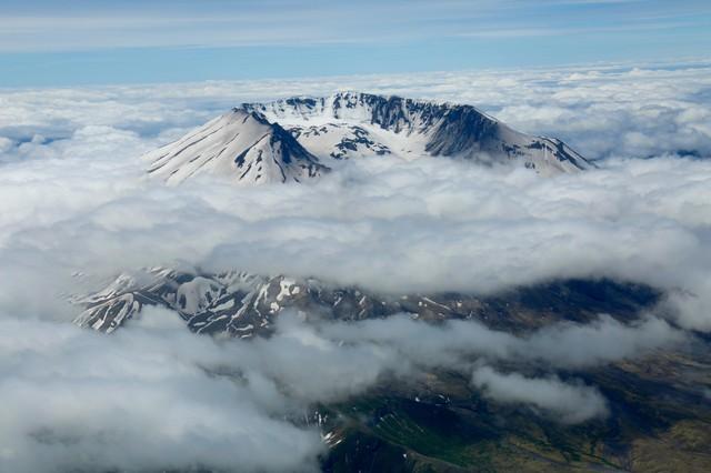 Mount St. Helens peeking through the clouds.