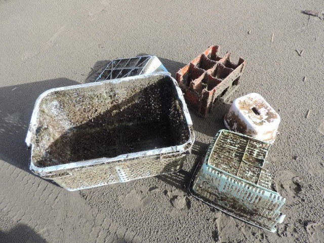 Non-biodegradable items from the 2011 Japanese earthquake and tsunami that were found by Oregon State University researchers along the coast of Oregon.