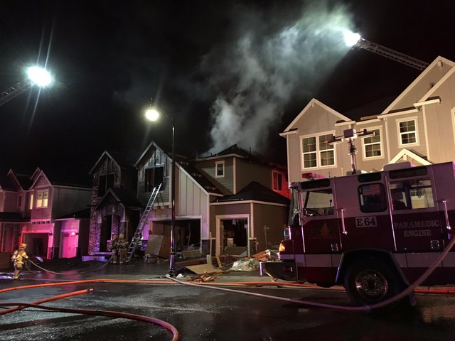 A two-alarm fire in North Bethany that occurred on December 11. It's the fourth fire in a string of arsons that have targeted homes under construction in a housing development.