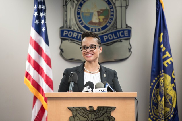 The Portland Police Bureau introduces Danielle Outlaw as its new chief Thursday, Aug. 10, 2017.