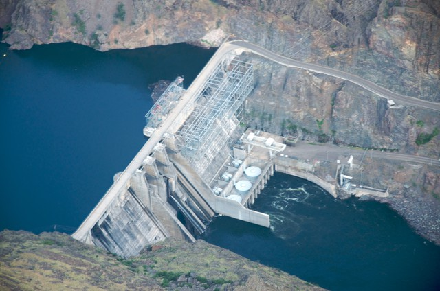 Pictured here is the Hells Canyon Dam, part of a three-dam complex along the Snake River.