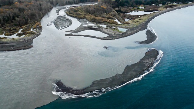When this photo was taken, about 3 million cubic yards of sediment had been flushed down the Elwha River since dam removal began in 2011. That's only 16 percent of what's expected to move downstream over five years.