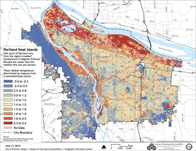 A map of Portland's urban heat islands, the parts of the city that see hotter temperatures in heat waves.