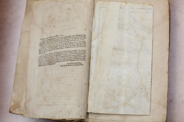 Folded inside the first volume of an 1814 journal kept locked away at Powell's Books is Captain Lewis' map.