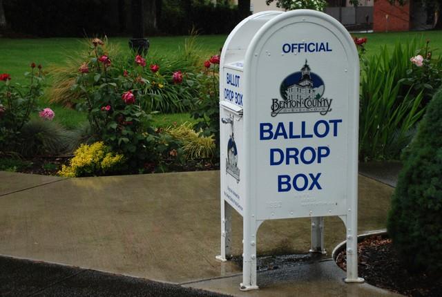 Ballot box at Benton County Courthouse in Corvallis