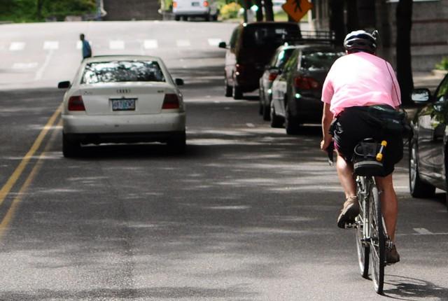 Casey Negreiff bikes in commuter challenge. (file)