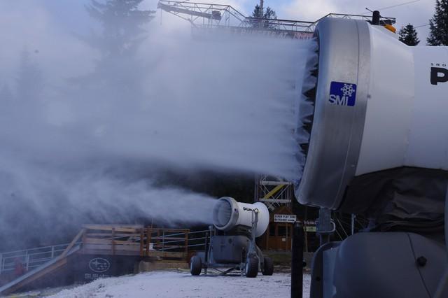 Snow guns supplement natural snow at Mount Hood SkiBowl.