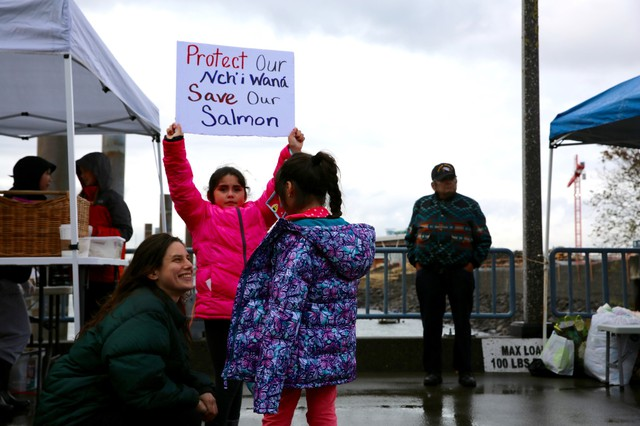 Allies and members of Yakama Nation hold a rally at theVancouver Landing Amphitheater along the Columbia River.