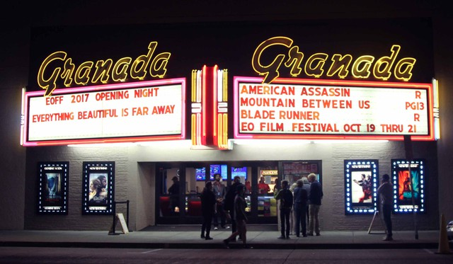 The facade of La Grande's Granada Theater for the opening night of the Eastern Oregon Film Festival.