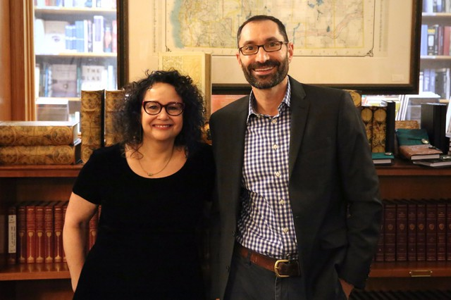 """""""On the Media"""" host and """"The Trouble with Reality"""" author Brooke Gladstone with """"Think Out Loud"""" host Dave Miller at Powell's Books."""