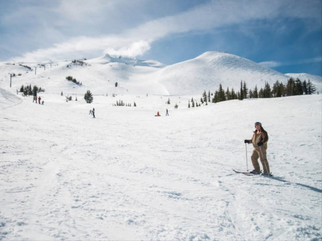 Skiers make their way along the Marshmallow Trail at Mount Bachelor in this 2014 file photo.