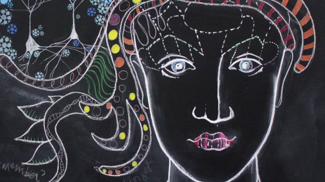 Chalk art by Kindra Crick highlights the impermanence of memory.