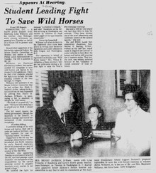 10-year-old Lynn Williams and his teacher Joan Bolsinger, from Roseburg, Oregon, lobby Senator Henry Jackson, D-Wash, in 1971. The two also testified before Congress in favor of protecting wild horses.