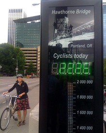 A digital bike counter counts cyclists crossing Portland's Hawthorne Bridge.