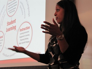 Saroja Barnes with the American Association of Colleges of Teacher Education gives a presentation at a recent gathering of Oregon education leaders and teaching professors.