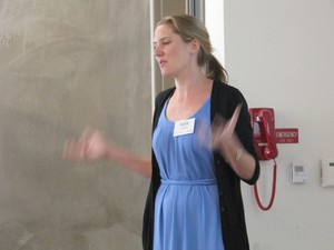 Katie Ledwell with Teachers College in New York City gives a presentation to education professors and school officials at a recent Oregon gathering focusing on improving teacher training.