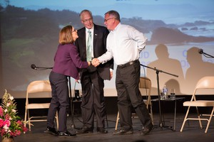 From left, Oregon Gov. Kate Brown, Dr. Bud Pierce and Cliff Thomason greet one another following a gubernatorial debate at Winston Churchill High School in Eugene on Oct. 6, 2016.