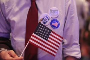 Measure 97 supporter at the Oregon Convention Center.