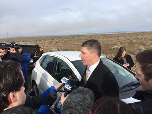 Ammon Bundy's attorney Mike Arnold speaks with the media before the Malheur refuge occupation ended in February.