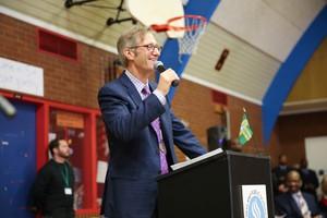 Portland Mayor Ted Wheeler at a public inauguration ceremony on Jan. 4, 2017.
