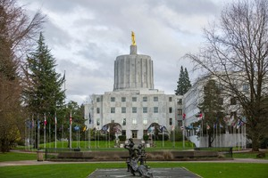 What happens if the Oregon Legislature holds a hearing on a tax increase and no one showed up to testify?