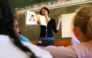 A teacher at Chapman Elementary School teaches students in Project Return, a program for homeless students, in this 2006 file photo.