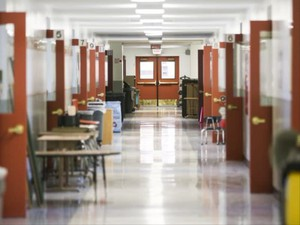 An empty hallway at Auburn Elementary School in Salem before school starts. Auburn was originally expected to be rebuilt under the proposed bond measure for the May 2018 ballot.