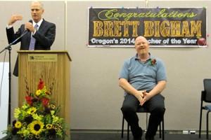 Rob Saxton, Deputy Superintendent of Public Instruction, speaks at award ceremony for Brett Bigham Oregon's 2014 Teacher of the Year.
