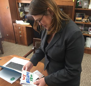 Sen. Sara Gelser returned to the Salem Capitol this week for the first time after accusing a fellow lawmaker of sexual misconduct.