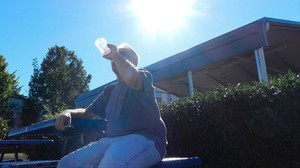Jack Sutton cools off with some water in Portland.