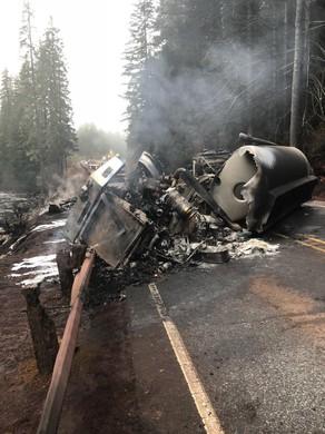 An overturned tanker spilled gas into the North Santiam River after it crashed Friday, Dec. 15, 2017.