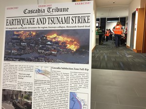 Officials simulate their response to a Cascadia Subduction Zone earthquake at the Emergency Operations Center in Southeast Portland